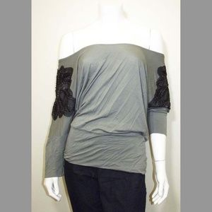 Army Green Top w/ Black Beaded Shoulders - H&M Lg